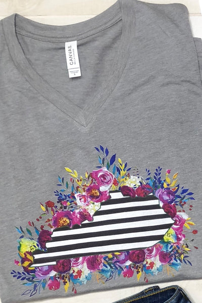 Striped Floral State V Neck Tee ~ Grey