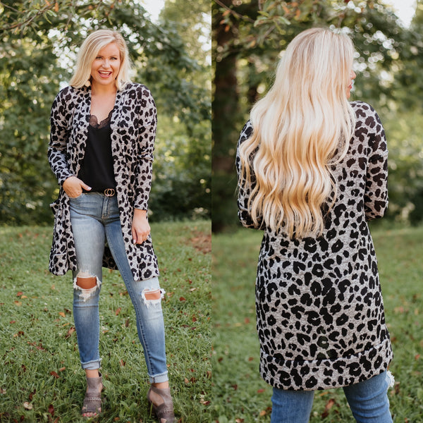 *NEW* Logan Animal Print Knit Long Cardigan with Pockets ~ Black & Grey - ShopBeYouBoutique