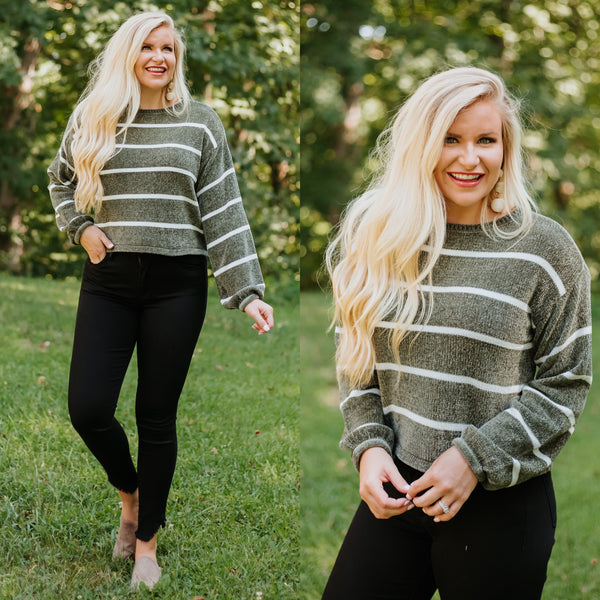 *NEW* Francis Stripe Chenille Sweater ~ Olive & White - ShopBeYouBoutique