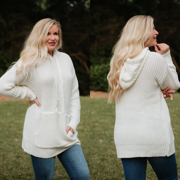 *NEW* Lilah Long Sleeve Sweater with Hoodie ~ Ivory - ShopBeYouBoutique