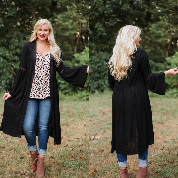 *NEW* Stephanie Lace Trim Bell Sleeve Kimono ~ Black - ShopBeYouBoutique