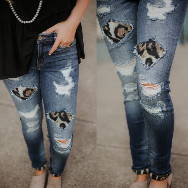 {LAST CHANCE}  Kancan Holly Leopard Skinny Jeans ~ KanCan - Be You Boutique