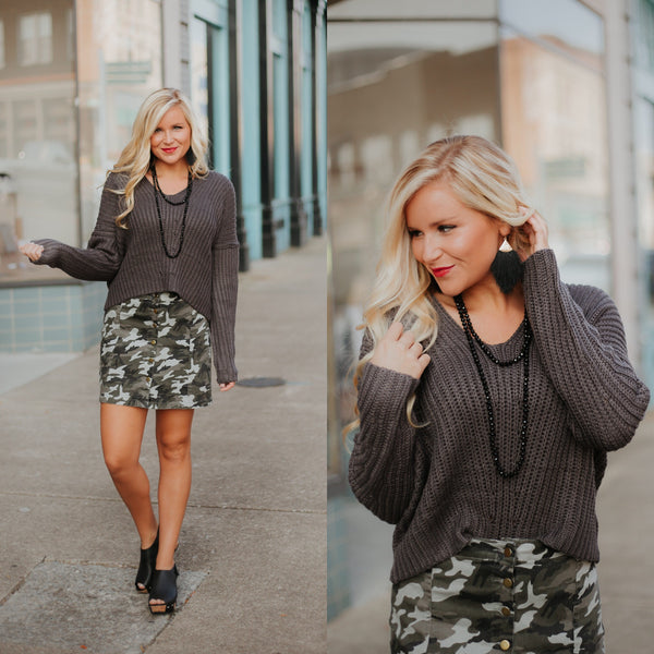 {LAST CHANCE} Missy V Neck Knit Cropped Sweater ~ Charcoal