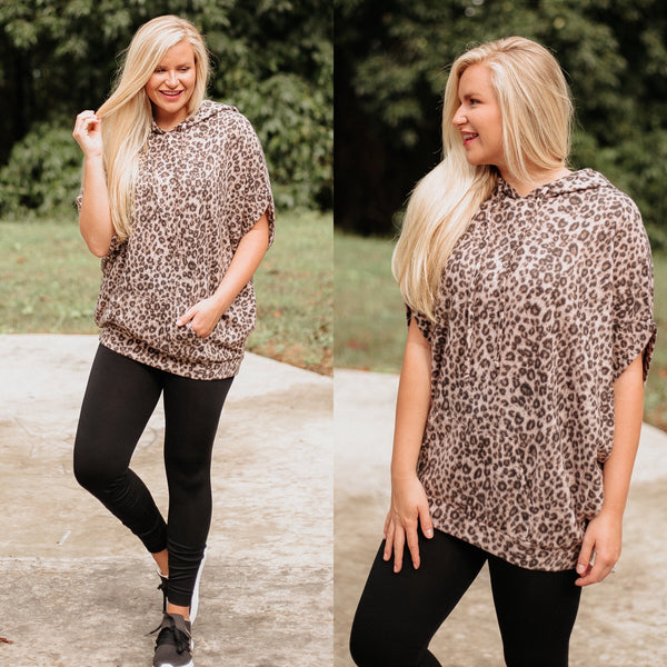 *NEW* Anaya Animal Printed Brushed Poncho Top ~ Black / Brown - ShopBeYouBoutique