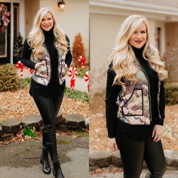 {Last Chance} Madi Michelle Camo Padded Vest ~ Camouflage *FINAL SALE* - Be You Boutique