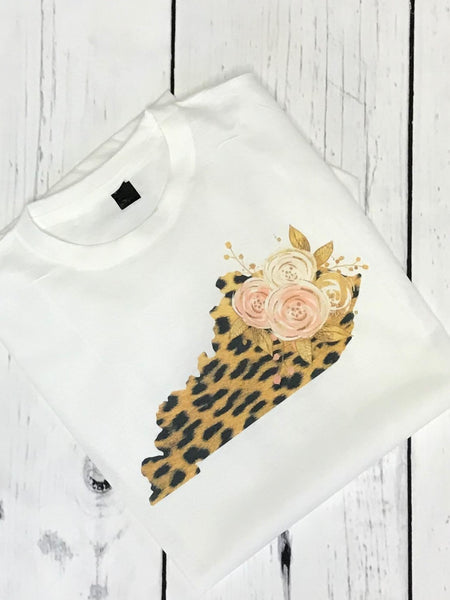 *NEW* Spring Leopard State Tee ~ White