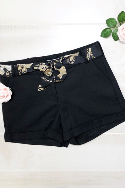 Kara Solid Shorts With Scarf Belt ~ Black