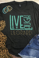 *NEW* Live Laugh Leopard V Neck Graphic Tee ~ Charcoal