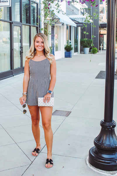 {Last Chance}  Gingham Romper ~ Black *FINAL SALE* - Be You Boutique