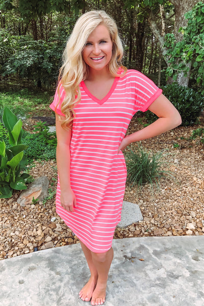 *NEW* Nevaeh V Neck Striped Dress ~ Neon Pink
