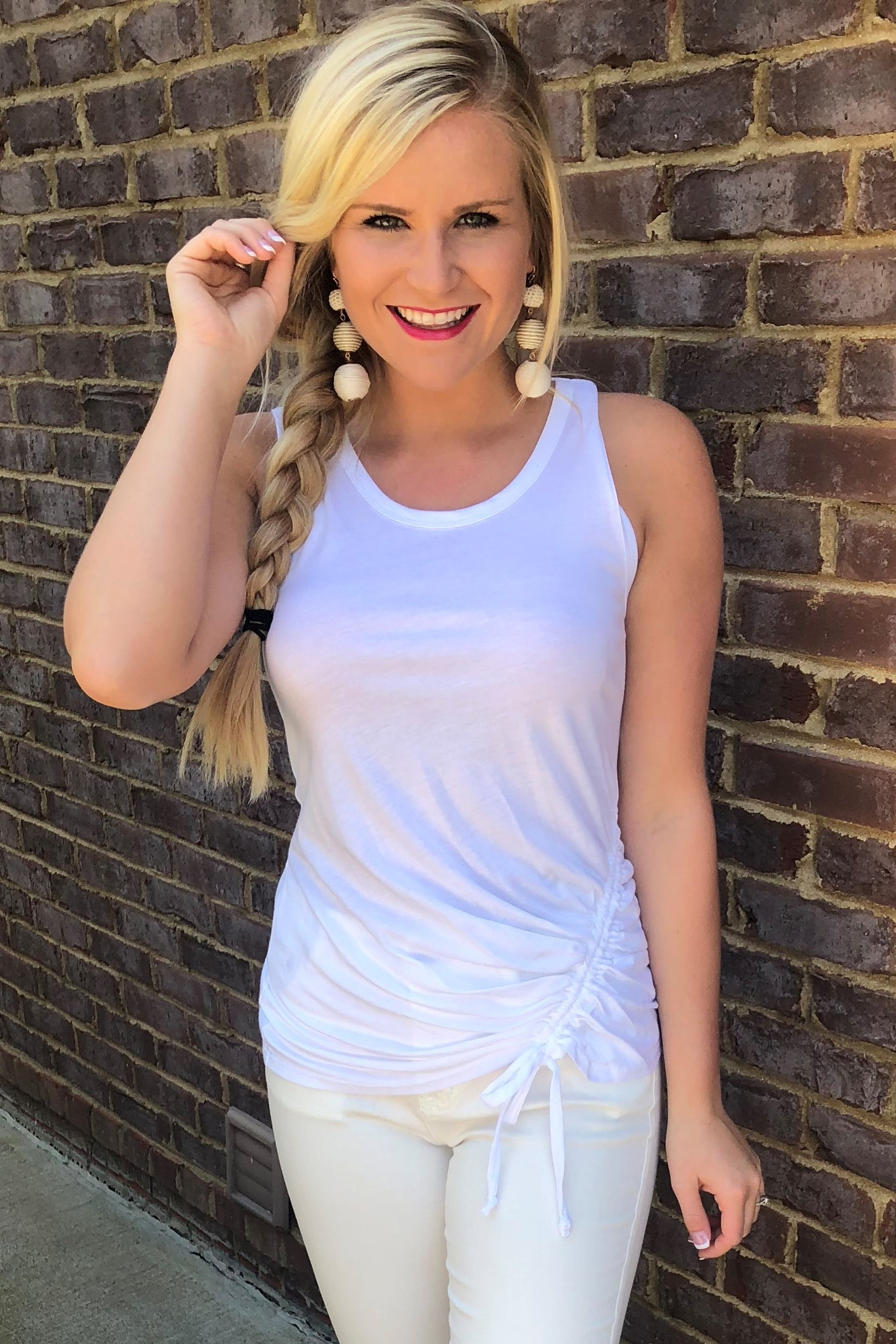 {Last Chance} In A Cinch Tank Top ~ White *FINAL SALE* - Be You Boutique