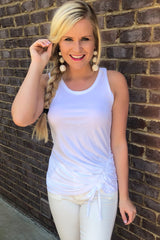 In A Cinch Tank Top ~ White