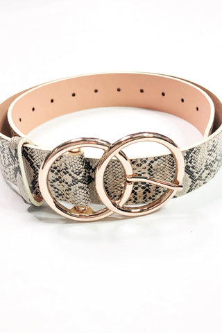 *NEW* Bianca Leather Belt ~ Beige Snake
