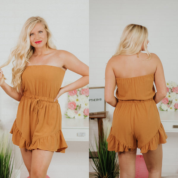 {Last Chance} Aria Strapless Romper ~ Camel