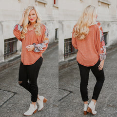 *NEW* Clara V neck Contrast Sleeve Top ~ Rust