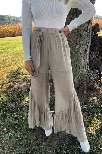 {Last Chance} Gabby Flounce Hem Culottes ~ Mocha *FINAL SALE* - Be You Boutique