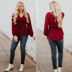 Sweet Beth V Neck Blouse ~ Wine