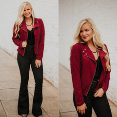 *NEW* What's Your Angle Jacket ~ Burgundy