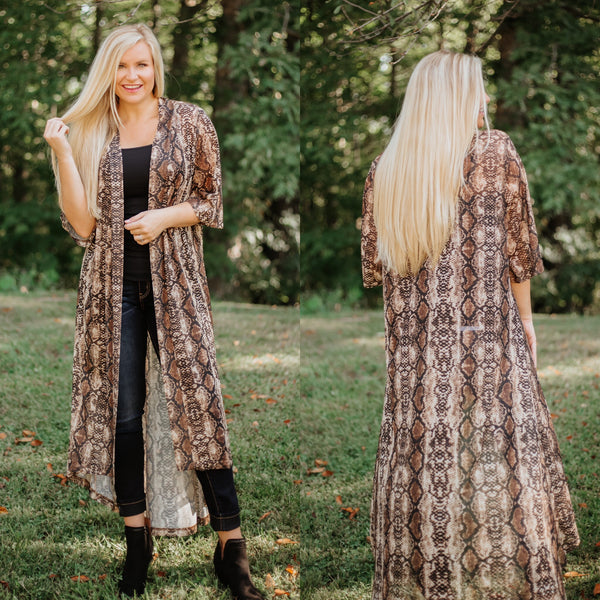 *NEW* Crazy Train Prairie Rattler Duster ~ Snakeskin Print - ShopBeYouBoutique