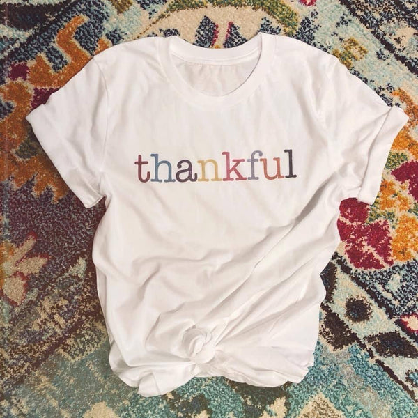 THANKFUL Colorblock V Neck Graphic Tee ~ White