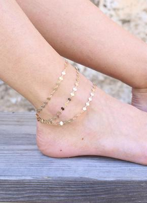 Caroline Hill Spinner Layered Square Disc Anklet