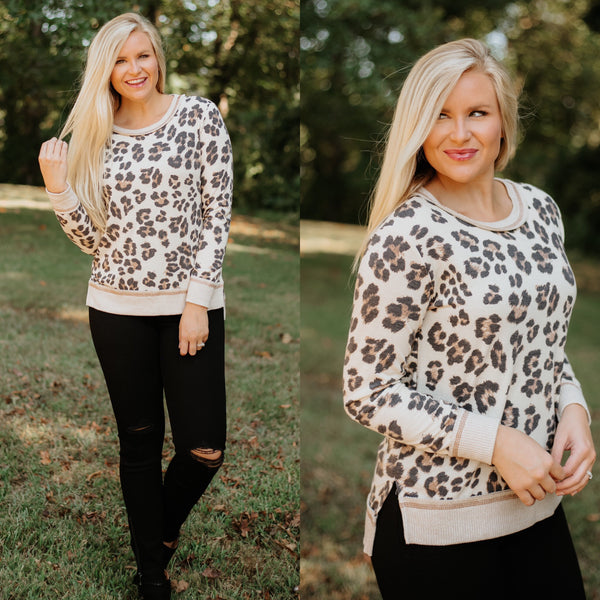 *NEW* Kendall Reece Boat-Neck Leopard Top ~ Natural Leopard - ShopBeYouBoutique