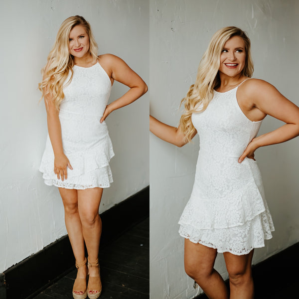 *NEW* Covered In Lace Mine Dress with Flounce Hem ~ Off White
