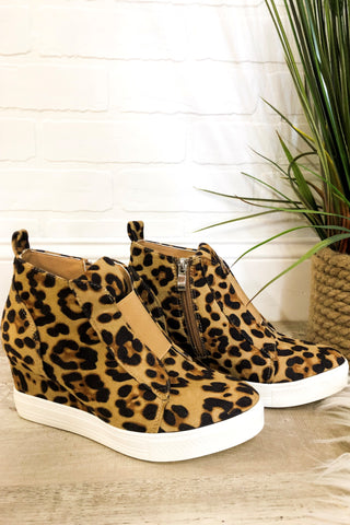 {Last Chance}  Wedge Sneakers ~ Leopard