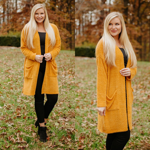 {Last Chance} Lynnsley Fuzzy Cardigan ~ Mustard *FINAL SALE* - Be You Boutique