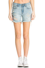 Sandy Distressed Shorts ~ Light Denim