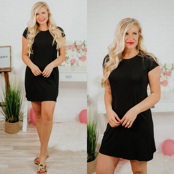 *NEW* Ella Essential Tee Dress ~ Black