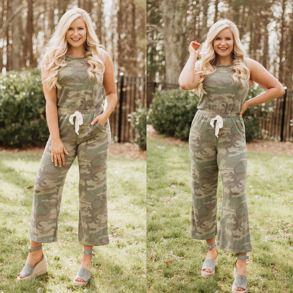 On The Hunt Camo Romper ~ Olive