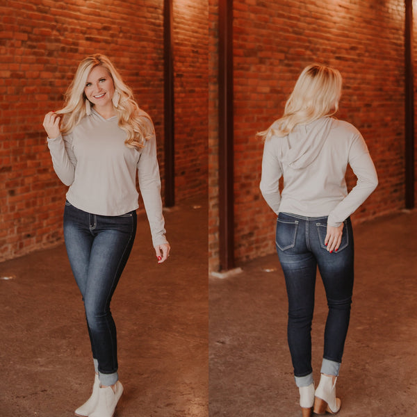 {LAST CHANCE} Connie Crop Hoodie ~ Taupe Grey