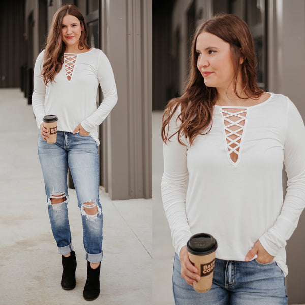 *NEW* Gracelyn Criss Cross Long Sleeve Top