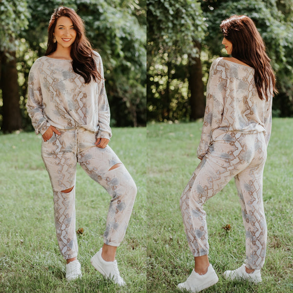 *New* Diana Snake Print Matching Lounge Set