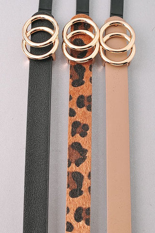 *NEW* Bianca Slim Set Leather Belt ~ Leopard Multi - ShopBeYouBoutique