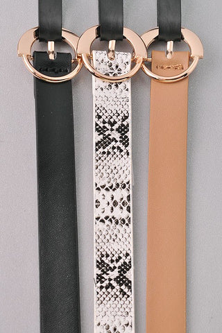 *NEW* Bianca Slim Set Leather Belt ~ Snake Multi - ShopBeYouBoutique