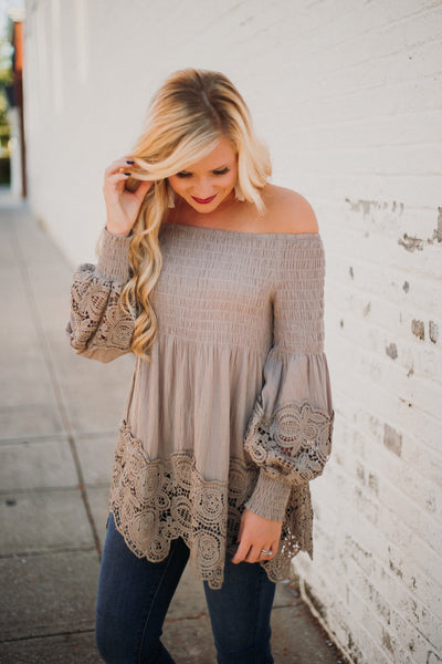 *NEW* Sam Smocked Off Shoulder Top ~ Taupe