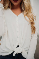 *NEW* Brenda Long Sleeve Button Down Tie Top ~ Off White
