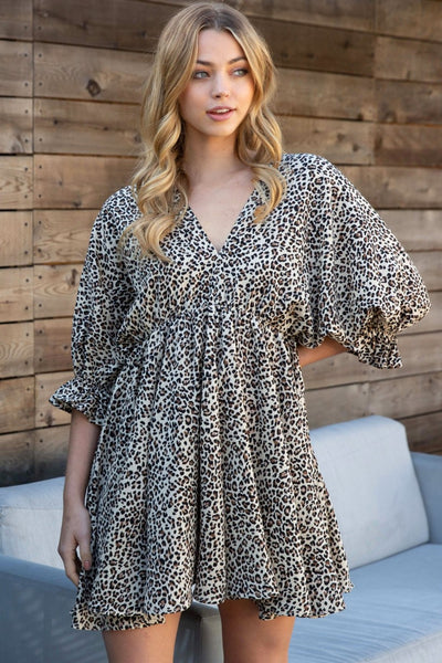 *NEW* Karen Animal Print V Neck Empire Waist Dress