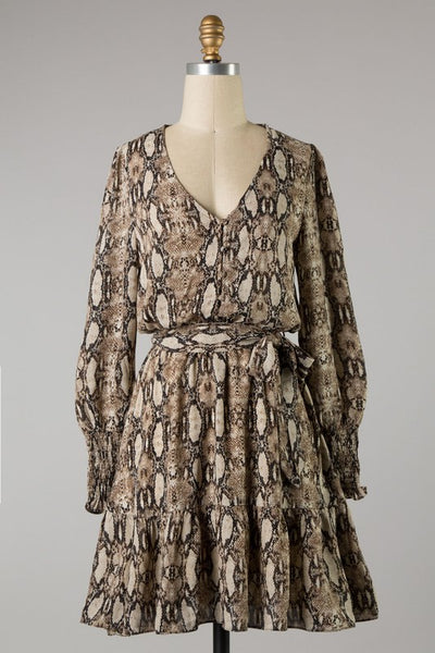 Saylor Woven Dress ~ Brown