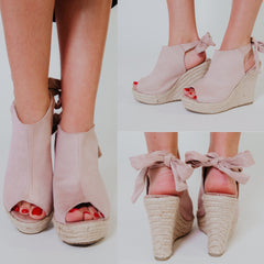 *NEW* Miya Tie Back Wedges ~ Taupe - ShopBeYouBoutique