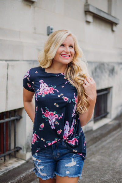*NEW* Kennedy Floral Knot Top ~ Navy