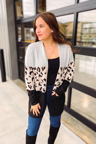 *NEW* Norah Leopard Color Block Cardigan
