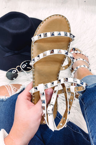 *NEW* Tulla White Studded Strap Sandal