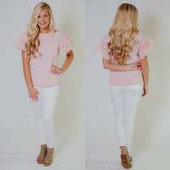 *New* Be My Eyelet Top ~ Misty Pink - ShopBeYouBoutique