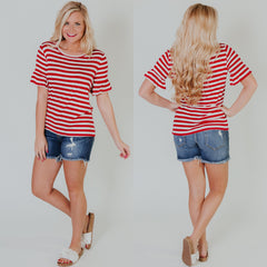 *NEW* Sally Stripes Top ~ Red - ShopBeYouBoutique