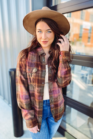 Melody Distress Acid Wash Plaid Flannel