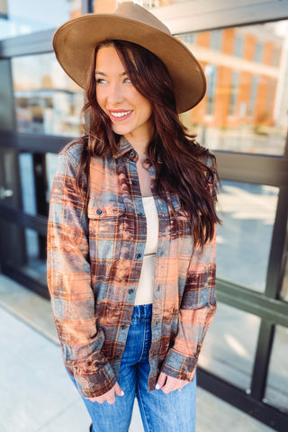 *NEW* Lyla Distress Acid Wash Plaid Flannel