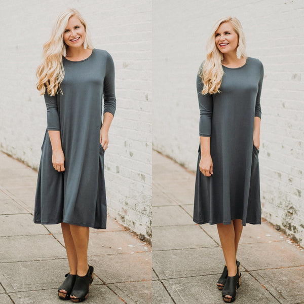 {Last Chance} Madison Midi Dress ~Dark Grey